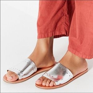 Urban Outfitters Silver Heart Sandals Slides